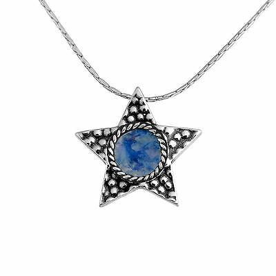 Beautiful New Sterling Silver & Roman Glass Necklace Night Star Unique Pendant