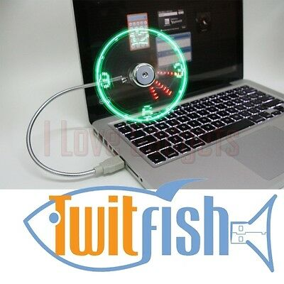 Mini Ventilatore USB orologio led per PC Twitfish - ufficio / casa