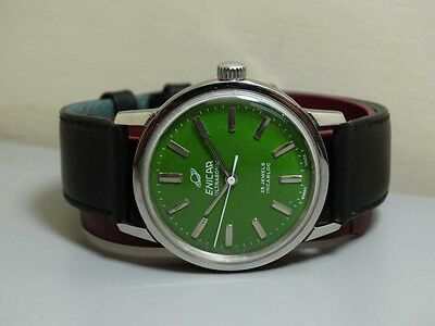 Vintage Enicar WINDING STAR JEWELS SWISS MENS WRIST WATCH OLD USED E600 Green