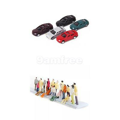 100 PAINTED FIGURES Peoples & 50 Cars Model 1:150 Train Buildings Scenery Layout