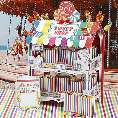 TALKING TABLES SWEET SHOP STAND Plus 12 x Stickers Paper Treat Bags MULTI