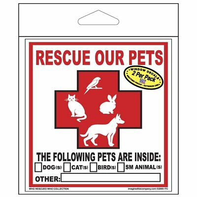 2 Rescue Our Pets Decals Dog Cat Bird Small Animals Puppy Kitten Safety