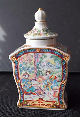 "Vintage WINDSOR Bone China  England TEA CEREMONY 7""h  Lidded Tea Jar"