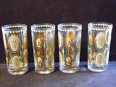 4 Vintage Gold & Cream Royal Queen Drinking Glass Tumblers 5 1/2 Inches Tall
