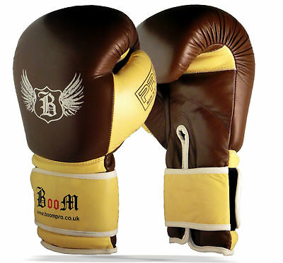 BOOM Premium Leather Boxing Sparring Gloves MMA Punch Bag Muay Thai Kick Boxing