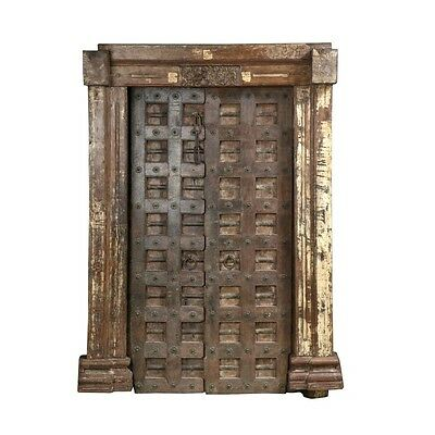 "85.5"" Mai Door and Frame  Carved Antique Architectural Vintage Solid Wood Hand M"