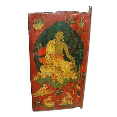 "68"" Willa Tibetan Door  Carved Antique Architectural Vintage Solid Wood Hand Mad"