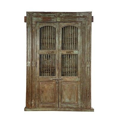 "84.5"" Kay Door and Frame  Carved Antique Architectural Vintage Solid Wood Hand M"