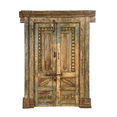 "81.5"" Aisha Door and Frame  Carved Antique Architectural Vintage Solid Wood Hand"