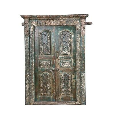 "83"" Sofia Door and Frame  Carved Antique Architectural Vintage Solid Wood Hand M"
