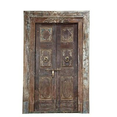 "92"" Young Door and Frame  Carved Antique Architectural Vintage Solid Wood Hand M"