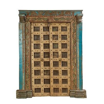 """85.5"""" Chun Door and Frame  Carved Antique Architectural Vintage Solid Wood Hand"""