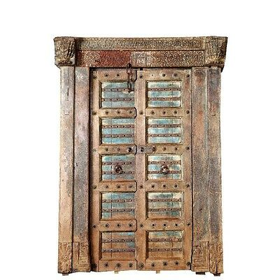 "87"" Destiny Door with Frame  Carved Antique Architectural Vintage Solid Wood Han"