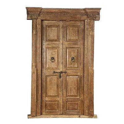"98.5"" Jerry Door and Frame  Carved Antique Architectural Vintage Solid Wood Hand"