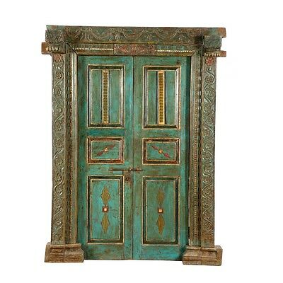 "83"" Ursula Door and Frame  Carved Antique Architectural Vintage Solid Wood Hand"