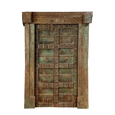 "85"" Boyce Door and Frame  Carved Antique Architectural Vintage Solid Wood Hand M"