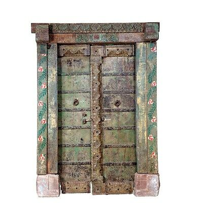 "87"" Adela Door with Frame  Carved Antique Architectural Vintage Solid Wood Hand"