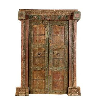 "83.5"" Sasha Door and Frame  Carved Antique Architectural Vintage Solid Wood Hand"