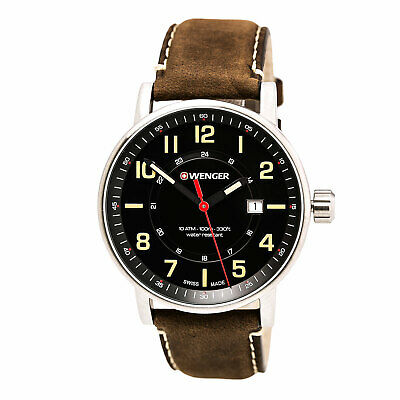 Wenger 01.0341.108 Gent's Brown Leather Strap Black Dial Watch