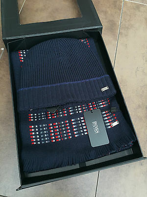 "Hugo Boss Black Label ""farrios"" Beanie Hat & Scarf Box Set Retail £105 Bnwt"