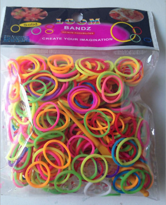 600x Rainbow Loom Refill Bands DIY Braided Rubber Bracelets Bangle Clips Kit GSE