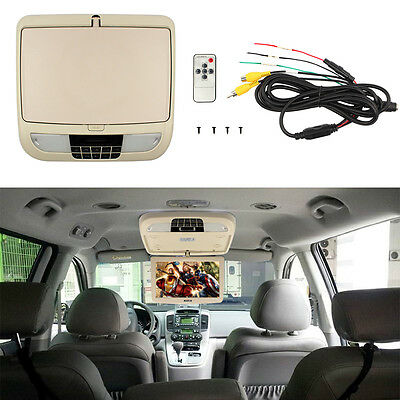 9 Inch Flip Down TFT LCD Monitor Car Roof Mounted Monitors Beige With LED Light