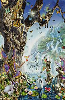 FAIRY FALLS MYTHICAL UNICORN POSTER (61x91cm)  PICTURE PRINT NEW ART