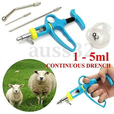 1 - 5ml Continuous Drench Gun - Sheep Goats Oral & Pour On Animal Husbandry New