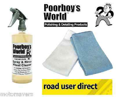 Poorboys Spray & Rinse Wheel Cleaner 2 Micro Fibre Cloths Free Tracked Delivery