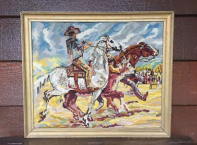 Vintage Framed  Cowboy Country Rodeo Roping Tapestry Needle Point Wall Hanging
