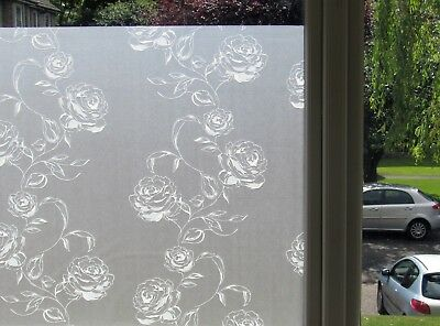 Frosted Decorative Static Window Stained Glass Vinyl Privacy Film Black Rose