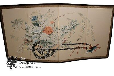 Stunning Early 20th Century 4 Panel Chinese Painted Screen Flower Cart Scene