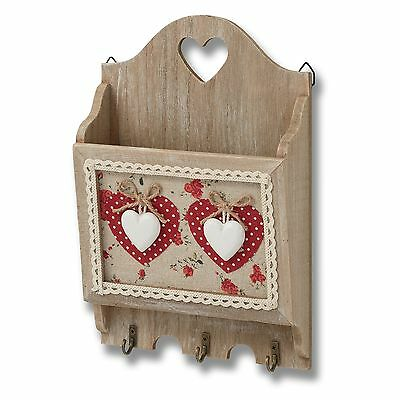 Hill Interiors Wooden Letter Rack With Heart Embellishments