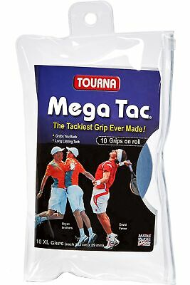 Unique Tourna Mega Tac Tennis Racket Tacky Replacement XL Grip - Blue, 10-Pack