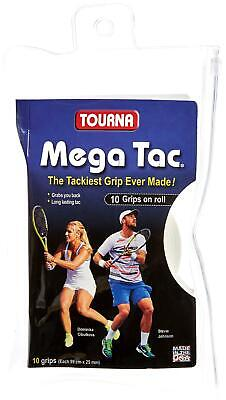 Unique Tourna Mega Tac Tennis Racket Tacky Replacement XL Grip - White, 10-Pack