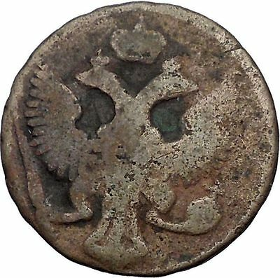 1744 Elizabeth Russian Empress Denga 1/2 Kopek Coin Saint George Dragon i56436
