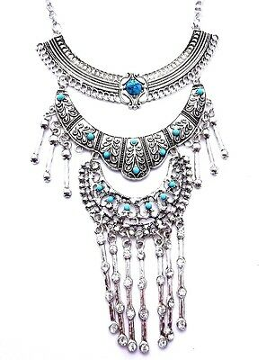 "SILVER BOHEMIAN TIERED NECKLACE statement turquoise ""stones"" tribal Tibetan B6"