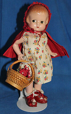 """Rare Antique 1930's-Effanbee~Patsyette~9""""~Red Riding Hood doll-very cute"""