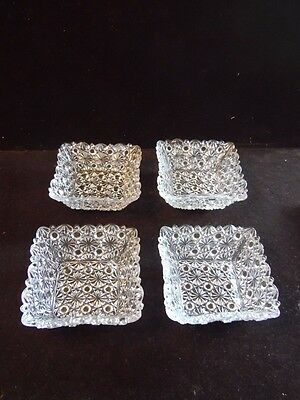 4 Vintage Square Fruit Dessert Bowls Daisy & Button Clear Wright Glass L G