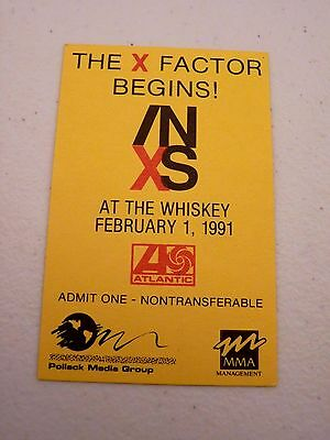 INXS X Factor Begins Whiskey 1991 Backstage Concert Pass