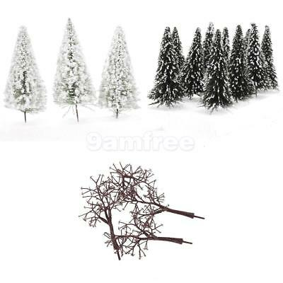 20 White Snow Covered & 10 Bare Model Trees Winter Forest Train Railway Scenery