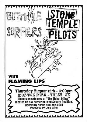 STONE TEMPLE PILOTS BUTTHOLE SURFERS FLAMING LIPS Tulsa 1993 Orig Concert Poster