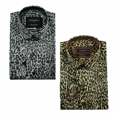 Mens Cheetah Print Silk Feel Smart Casual Designer Style Button Shirt Black Gold