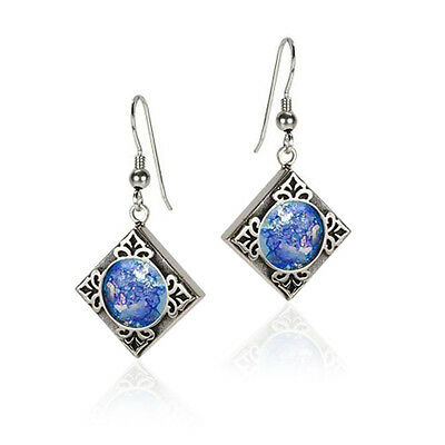 Beautiful New 925 Sterling Silver And Roman Glass Earrings Unique Square Design