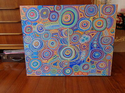 Aboriginal Style Dot Painting~Acrylics~Modern Art~Retro~Signed  By Artist~Large