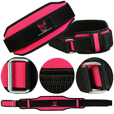 Ladies Pink Weight Lifting Belt Back Support Neoprene Gym Fitness Training Strap
