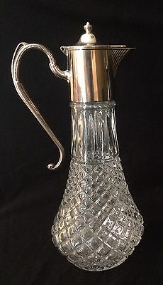 F.B. Rogers Decanter Cut Glass and Silver