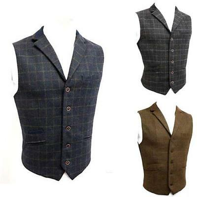 Mens Waistcoat Wool Mix Cavani Formal Vest Herringbone Tweed Check Party Velvet