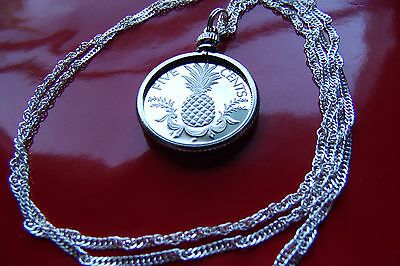 """Bahamas Pineapple Proof Coin Pendant  on a 30"""" 925 Silver Wavy Twist Chain 23mm"""