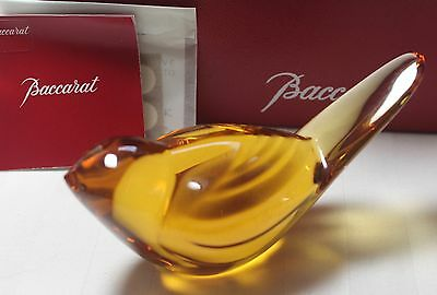 Baccarat Honey or Amber TITI BIRD figurine, double signed **MIB**, MSRP $190
